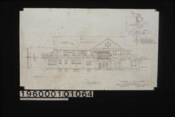 """West elevation with section through wall ; 3/4"""" scale detail of porte cochere support (position determined by pitch of roof and relation to frame line of house as shown) :Sheet no. 5."""