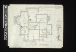 """Foundation plan with 1/4"""" scale section """"A-A""""\, 1/2 inch scale detail of chimney footing (Y)\, detail drawing of girder post footings\, 1/2 inch scale section thro' wall footings :Sheet No. 1\, (2)"""