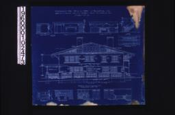 Front (east) elevation ; interior details -- section thro' fireplace, west side of living room, west side of dining room, stairs, north side of dining room, west side of den, north side of den, looking west in hall (2nd floor), looking south in hall (2nd floor) ;Sheet no. 5.