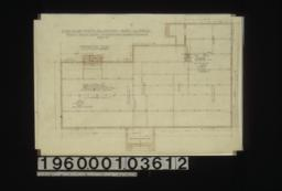 """Foundation plan; section thru chimney\, elev. of girder post footing\, special footing for 6"""" x 6"""" posts in elevation :Sheet no. 1. (2)"""