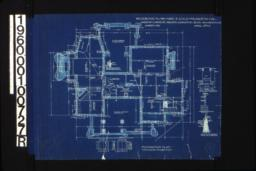 """Foundation plan with 1/4"""" scale section """"A-A""""\, 1/2 inch scale detail of chimney footing (Y)\, detail drawing of girder post footings\, 1/2 inch scale section thro' wall footings :Sheet No. 1\, (3)"""