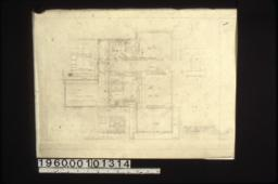 Second floor plan; elevations of linen case\, bathr'm closet east wall\, and west wall of bathr'm.