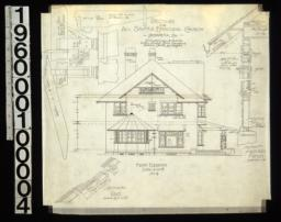 Front elevation ; 1 1/2 in. scale details of pergola ; section thro' rake ; section thro' main wall of house : No. 4.