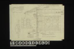 Detail of shingle ridge -- end\, side; detail of roof truss; elev. of foundation vent; section and elevations of wall and windows with part elev. of door openings in partitions : Sheet no. 7. (2)