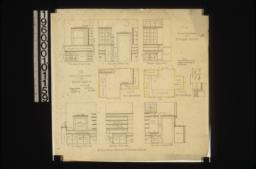 1/2 inch scale details of pantries -- plan of butler's pantry\, elevation of west side\, elevation of north side\, elevation of east side; plan of kitchen pantry\, part elevation of west side showing finish around alcove\, elevation of north side\, elevation of east side\, elevation of south side :35.