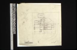 First floor plan showing grounds, rough sketch of front elevation, scheme #10.