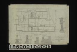 Foundation plan ; section thro' piers, section thro' outside wall, section thro' kitchen chimney, section thro' living r'm chimney, section thro' C-C : No. 1.