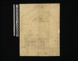 Sketch showing proposed change of the west memorial window to position over alter in chance -- plan\, section\, elevations.