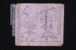 East elevation ; west elevation ; elevation, plan and sections of roof structure ; section through wall showing exterior and interior elevations of window, detail of mullion, detail of stairs at 2nd story, front view of bracket, detail of shingles ; side and east elevations of stairs : 4.