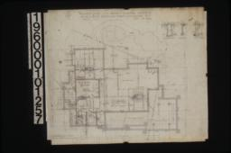 Foundation plan\, detail of den and living rm. chimney footing\, section of N.E. balcony piers\, section of dining rm. chimney footing : Sheet no. 1\, (2)