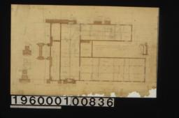 Foundation plan\, wall section\, detail drawings of girder post footings and living rm. chimney footing :Sheet no. 1\, (2)