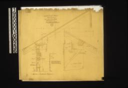 """1 1/2 inch details -- detail in sections with plans of screen porch\, part plan 1/4"""" scale of screened porch showing where vent and water pipes are carried up :16."""