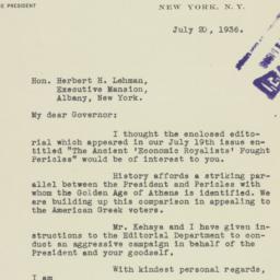 Letter: 1936 July 20
