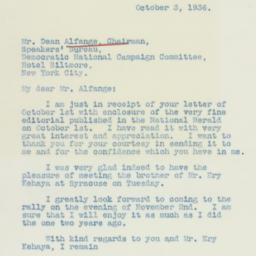 Letter: 1936 October 3