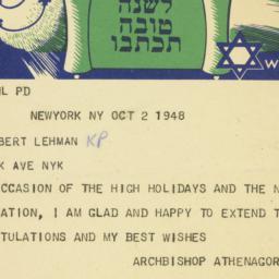 Telegram: 1948 October 2
