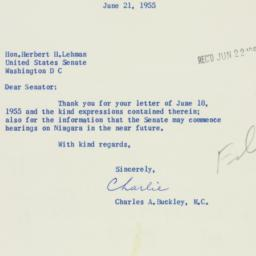 Letter: 1955 June 21