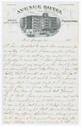 Avenue Hotel. Letter - Recto