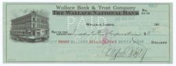 Wallace Bank and Trust Company. Check - Recto