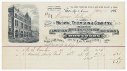 Brown, Thompson & Company. Bill - Recto