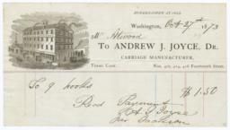 Andrew J. Joyce, Carriage Manufacturer. Bill - Recto
