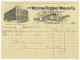 Western Reserve Woolen Co.. Bill - Recto