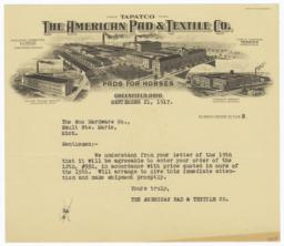 American Pad & Textile Co.. Letter - Recto