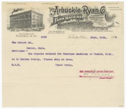 Arbuckle-Ryan Co.. Letter - Recto