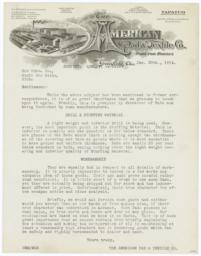 American Pad & Textile Co.. Letter - Recto