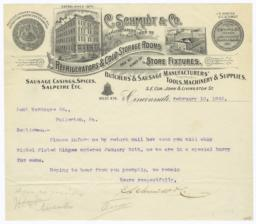 C. Schmidt & Co.. Letter - Recto