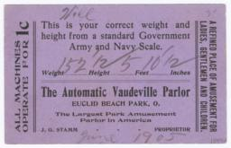 Automatic Vaudville Parlor. Card stock - Verso