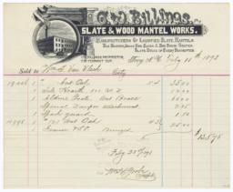 C. W. Billings Slate and Wood Mantel Works. Bill - Recto