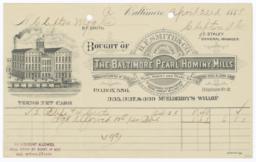Baltimore Pearl Hominy Mills. Bill - Recto