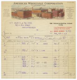 American Wholesale Corporation. Bill - Recto