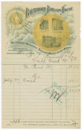 Baltimore Bargain House. Bill - Recto