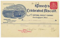 Kennedy's Celebrated Biscuit. Bill - Recto