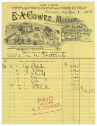 E. A. Cowee, Milller. Bill - Recto