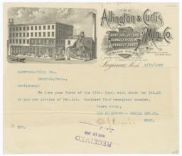 Allington & Curtis Mfg. Co.. Bill - Recto