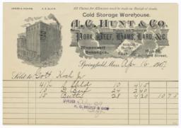 A. C. Hunt & Co.. Bill - Recto