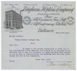 Brigham, Hopkins Company. Letter - Recto