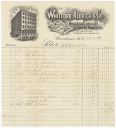 Whitford Aldrich & Co.. Bill - Recto