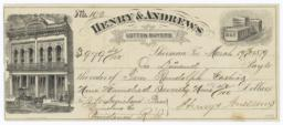 Henry & Andrews. Check - Recto