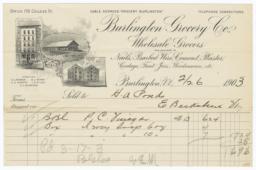 Burlington Grocery Co.. Bill - Recto