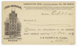 Boston Herald Co.. Card stock - Recto
