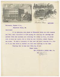Allington & Curtis Mfg. Co.. Letter - Recto