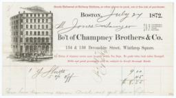 Champney, Brothers & Co.. Bill - Recto