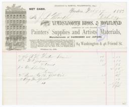 Wadsworth Bros. & Howland. Bill - Recto
