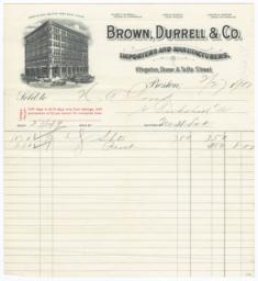 Brown, Durrell & Co.. Letter - Recto