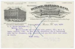 Rouse, Hazard & Co.. Letter - Recto
