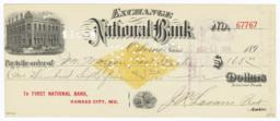 Exchange National Bank. Check - Recto
