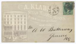 A. Klaber Steam Marble Works. Envelope - Recto